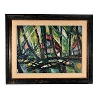 Albert Bertalan (Hungarian, 1899-1957), Tropical Boat Landing, Oil on Canvas