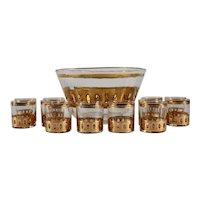 Mid Century Culver Ltd. Antigua Punch Bowl / Glass Set, 13 Pieces