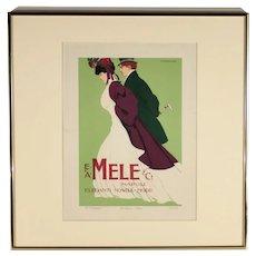 Ricordi Portfolio, Original Art Nouveau Mele Advertising Poster by Marcello Dudovich, Circa 1914
