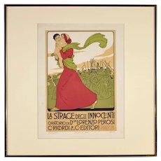 Ricordi Portfolio, Original Art Nouveau Poster by Franz Laskoff, Circa 1914