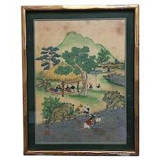 Traditional Korean Folk Art Painting, Village Scene, Antique