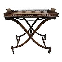 Mahogany Folding Butler's Tray on Casters, Fine Arts Furniture Company