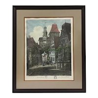 "Otto Ferdinand Probst (German 1865-1923), ""Rothenburg"", Original Signed Etching"
