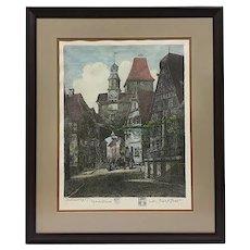 """Otto Ferdinand Probst (German 1865-1923), """"Rothenburg"""", Original Signed Etching"""