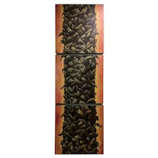 Tropical Palm Triptych, Original Oil on Canvas, Signed Purby