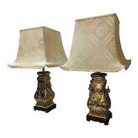 Chinese Hu Form Bronze Lamps in the Style of James Mont - a Pair