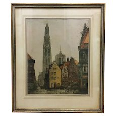 Hand Signed Colored Etching by Alfred Van Neste (Dutch 1874-1969)