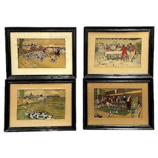 Cecil Aldin (British, 1870-1935), Fallowfield Hunt, Set of 4 Antique Lithographs