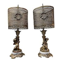 Gilded Mid-Century Cherub Lamps, a Pair