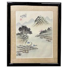 Vintage Chinese Silk Landscape Painting, Framed