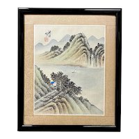 Vintage Chinese Silk Landscape Painting, Framed