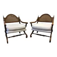 Pair of Mid-Century Campeche Inspired Accent Chairs