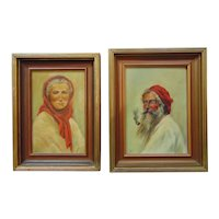 Pair of Portrait Paintings, Oil on Canvas Board, Signed Drake