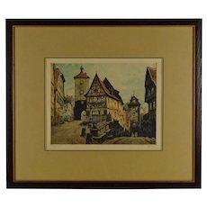 Willi Foerster (Germany 1802-1965), Signed Etching, Rothenburg Plönlein