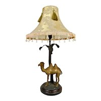 Vintage Bombay Camel and Palm Table Lamp