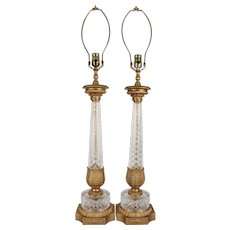 Pair of Mid-Century Neoclassical Crystal and Brass Column Lamps (Refurbished)