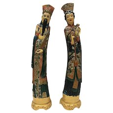 "Vintage Chinese Chalkware, Emperor and Empress, 24"" Tall"