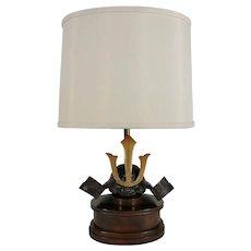 Samurai Helmet Sculptural Table Lamp, Shade Signed Paul Hanson Co.