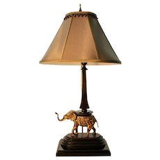 Figural Table Lamp W/ Brass Elephant and Bronze Tone Column