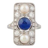 Art Deco Sapphire, Pearl & Diamond Ring