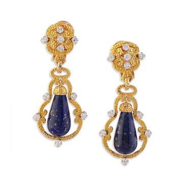 Pair of Gold, Diamond & Lapis Lazuli Drop Ear Pendants by Vourakis Greece