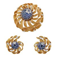 Floral Gold, Sapphire & Diamond Brooch/Earring Suite by Kutchinsky