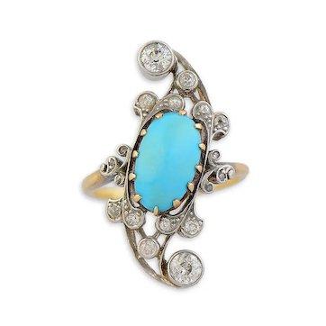 Art Nouveau Turquoise & Diamond Scroll Ring