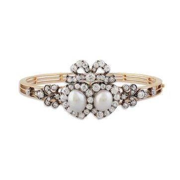 Victorian Pearl & Diamond Cluster Bracelet/Pendant
