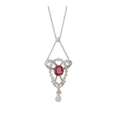 Edwardian Tourmaline and Diamond Drop Pendant Necklace