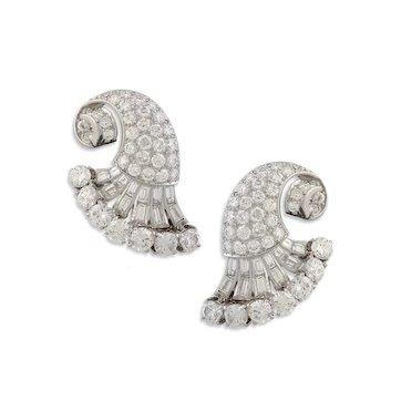 Pair of Platinum & Diamond Fan Shaped Earclips