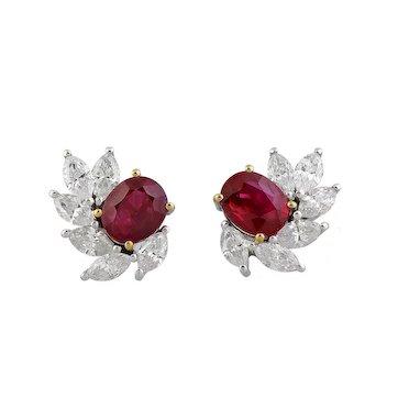Pair of Ruby & Diamond Cluster Earrings