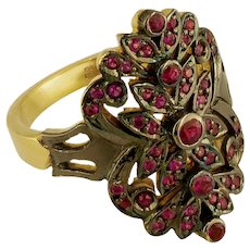 18K Handmade Yellow Gold Ring, Rhodium Plated with Rubies / Etoile Collection