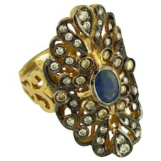 18K Handmade Yellow Gold Ring, Rhodium Plated with Diamonds & Sapphires / Etoile Collection