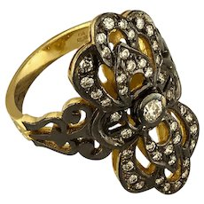 18K Handmade Yellow Gold Ring, Rhodium Plated with Diamonds / Etoile Collection