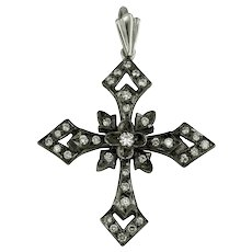18K Handmade White Gold Cross, Rhodium Plated with Diamonds / Etoile Collection