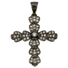18K Handmade Yellow Gold Cross, Rhodium Plated with Diamonds / Etoile Collection