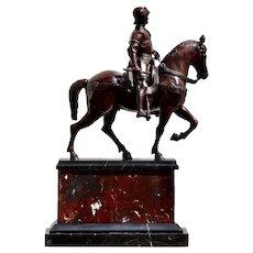 After Andrea del Verrocchio a Bronze Equestrian Group of Colleone