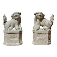Pair of Chinese 'blanc-de-chine' 'Buddhist Lion' Joss Stick Holders