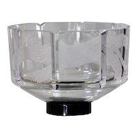 Orrefors Etched Glass 'Cat' Bowl, Designed by Gunner Cyren