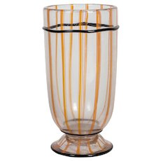 Daum Nancy Internally Decorated Glass Vase, with Applied Decoration France