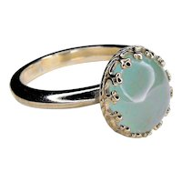 Color ring, 925 silver ring with aquamarine milk 9x11 - 0.77 Ct.