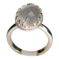 925 silver Ring with double stone: Mother of pearl and Rock crystal, 10x15mm