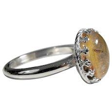 925 silver Ring with Rutilated quartz, cabochon cut 10 x 12 mm