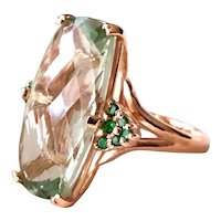 Rose 9 Kt gold ring with large prasiolite and green tsavorites