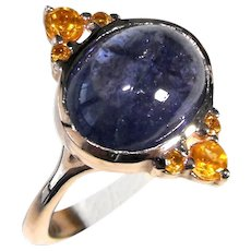 Rose 9 Kt gold ring with cabochon tanzanite and citrine quartz