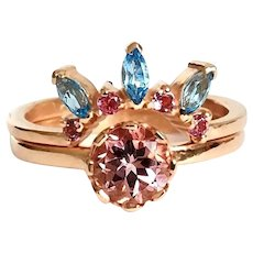 Rose 9 Kt gold rings with pink tourmaline and blue topazes
