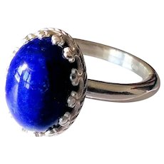 925 / °° silver ring with a beautiful cabochon-cut Lapis Lazuli measuring 10x14 - size 8 US -