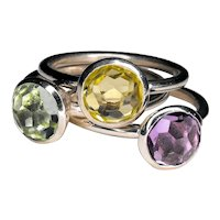 925 Silver Rings with natural colored stones, diameter 8 mm.