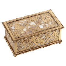 Tiffany Studios jewellery box with a Gold Pine Needle design