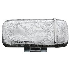 A Victorian Solid Silver Cheroot/Cigar Case with a Hand-Engraved Hunting Scene - Alfred Taylor 1853